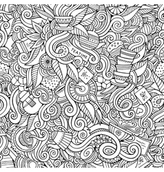 Seamless tea doodles abstract pattern vector image vector image