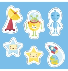 Stickers Collection with Space Cartoons vector image vector image
