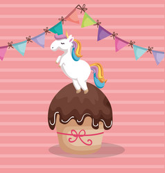 Sweet and delicious cupcake with unicorn vector