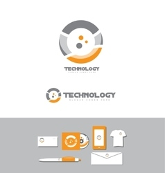 Technology business circle logo vector