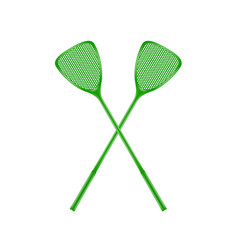 Two crossed fly swatters in green design vector