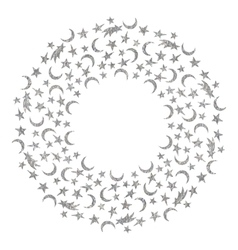 Silver textured space round frame vector