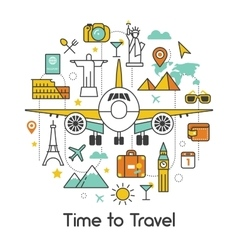 Time to Travel by Plane Line Art Thin Icons vector image