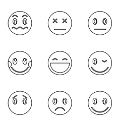 Types of emoticons icons set outline style vector