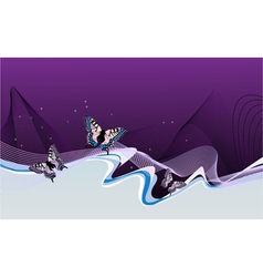 abstract lilac background with butterflies waves vector image