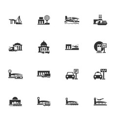 Stations of public transport icons set vector