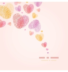 Fingerprint heart square corner romantic vector