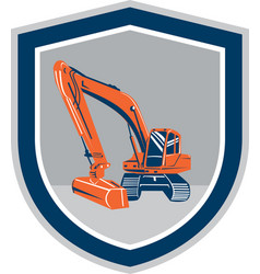 Mechanical digger excavator retro shield vector