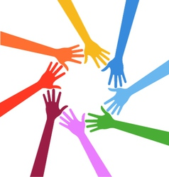 Hands in circle Teamwork concept vector image
