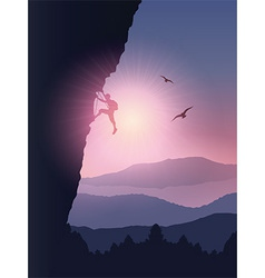 Rock climber background vector
