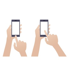 Hand holding black smartphone touching blank vector