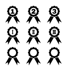 Set of 9 black award icons vector