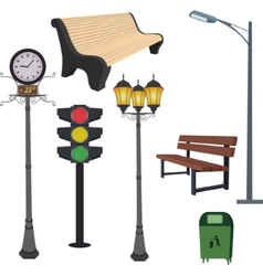 City objects- dustbin lamppoststreet hours vector