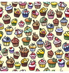 Coloful cupcakes seamless background vector