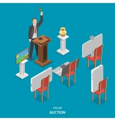 Online auction isometric flat concept vector
