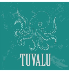 Tuvalu octopus retro styled image vector