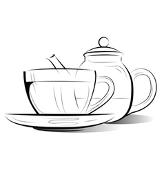 drawing teapot and cup of tea vector image