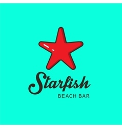 Flat logo with the image of a red starfish vector image