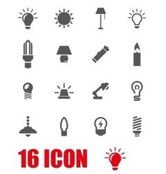 Grey light icon set vector