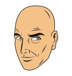 Bald man face vector
