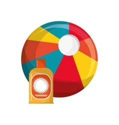 Beach ball and sun block icon vector