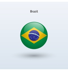 Brazil round flag vector image vector image