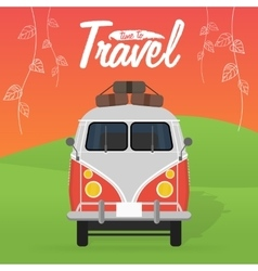 Camper van summer vacation vector