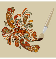 Cartoon brush painting floral swirls vector