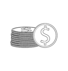 coins over white background vector image