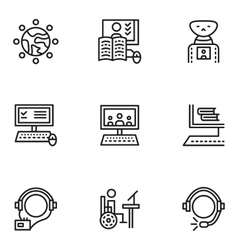 E-learning simple line icons set vector image