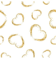 Golden hearts chaotic seamless pattern 2 white vector image vector image