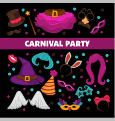 happy carnival promotional poster with bright vector image vector image