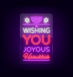 happy hanukkah greeting card in a neon style vector image vector image