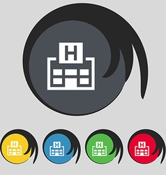 Hotkey icon sign symbol on five colored buttons vector