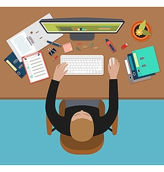 Man working on computer vector image vector image