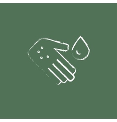 Microbes on the palm icon drawn in chalk vector