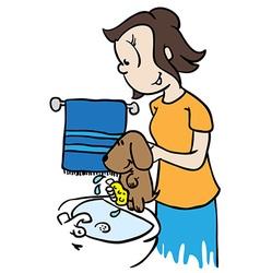 mom washing a dog vector image vector image