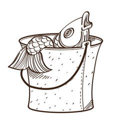 monochrome fish in bucket isolated on white vector image