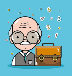 Old teacher with glasses and briefcase vector