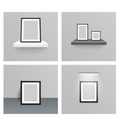 photo frame 3d realistic design hanging shelf wall vector image vector image