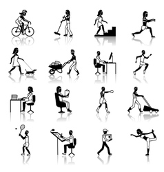 Physical Activities Icons Black vector image vector image