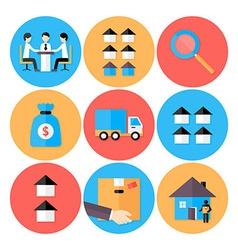Real estate flat circle icons set vector