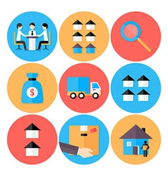Real Estate Flat Circle Icons Set vector image vector image