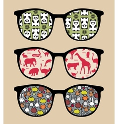Retro sunglasses with reflection vector
