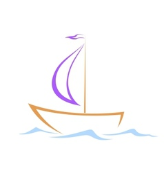 Sailing vessel on waves vector