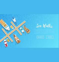 sea walks banner with yachting tour advertisement vector image