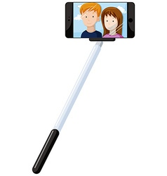 Selfie stick and mobile phone vector image