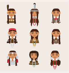 Set with american indian women portraits various vector