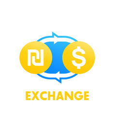 shekel to dollar exchange vector image