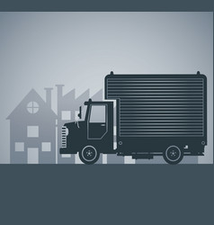 Silhouette truck delivery town cargo vector